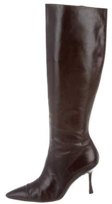 Manolo Blahnik Leather Knee-High Boots Brown Leather Knee-High Boots