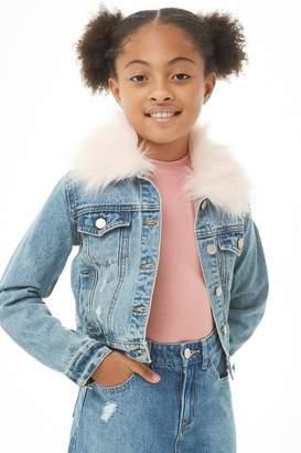 Forever 21 Girls Faux Fur Trim Denim Jacket (Kids) 829224c77