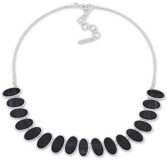 "Nine West Silver-Tone Oval Stone Collar Necklace, 16"" + 2"" extender"