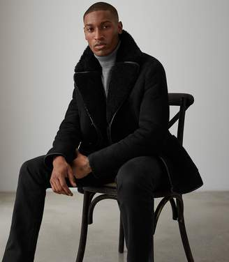 Reiss CODIE SHEARLING DOUBLE BREASTED COAT Black