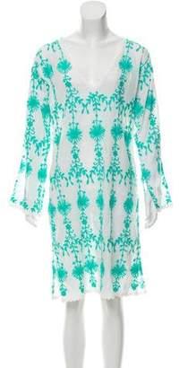 Melissa Odabash Embroidered V-Neck Dress