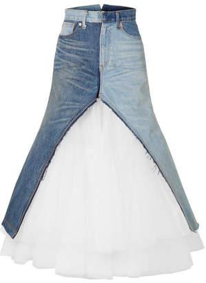 Junya Watanabe Paneled Denim And Tulle Maxi Skirt - Blue