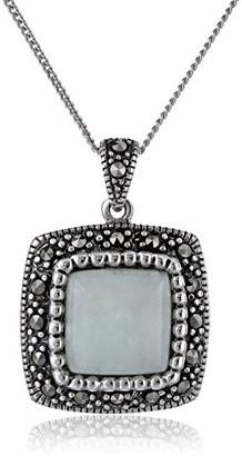 Sterling Silver Marcasite Jade Square Curb Chain Pendant Necklace