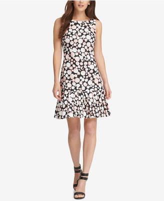 DKNY Printed Pleated Dress