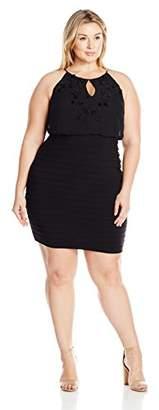 Adrianna Papell Women's Plus Size Womans Matte Jersey Blouson Sheath