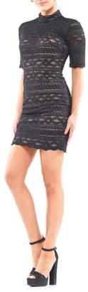 Colors Dress Mock Neck Mixed Lace Minidress