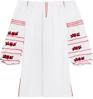 Sensi Studio - Off-the-shoulder Embroidered Cotton Mini Dress - White $345 thestylecure.com