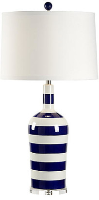 Chelsea House Beach Stripe Porcelain Lamp - Blue/White