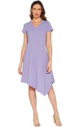 Halston H By H by Regular Crepe Knit Midi Dress w/ Asymmetric Hem