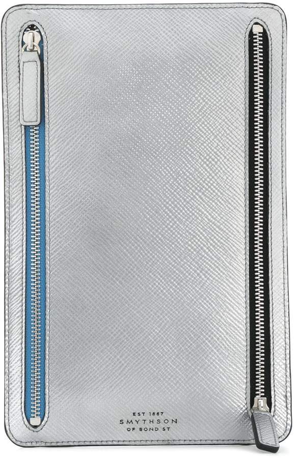 Smythson Panama double zip currency case