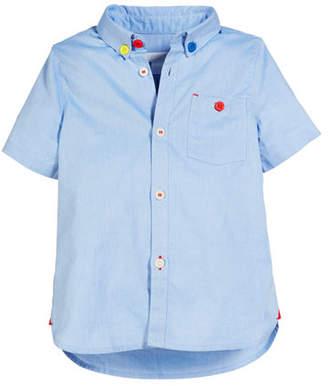 Burberry Short-Sleeve Oxford Shirt, Size 3-14