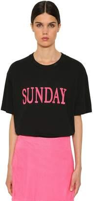 Alberta Ferretti Sunday Oversize Cotton Jersey T-Shirt