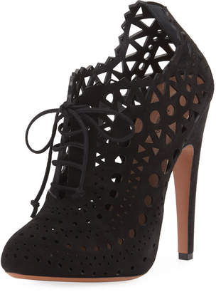 Alaia Laser-Cut Lace Ankle Booties