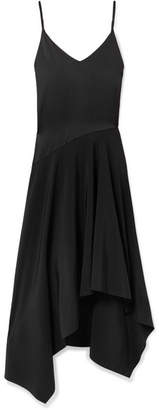 Fleur Du Mal Leather-trimmed Asymmetric Silk-satin And Crepe Midi Dress - Black