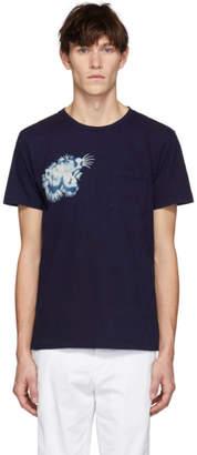 Blue Blue Japan SSENSE Exclusive Indigo Tiger Face T-Shirt