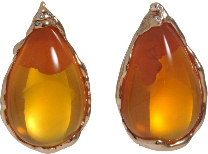Lucifer Vir Honestus Fire Opal & Diamond Teardrop Earrings