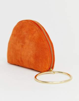Asos Design DESIGN suede half moon clutch bag with wristlet ring detail