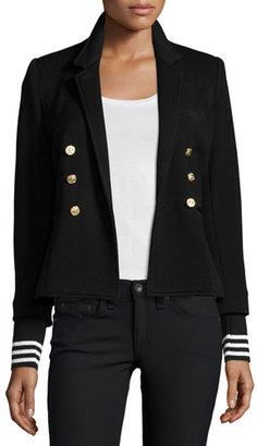 Smythe College Striped-Cuff Blazer, Black $595 thestylecure.com