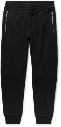 Alexander McQueen Tapered Zip-Detailed Fleece-Back Cotton-Jersey Sweatpants