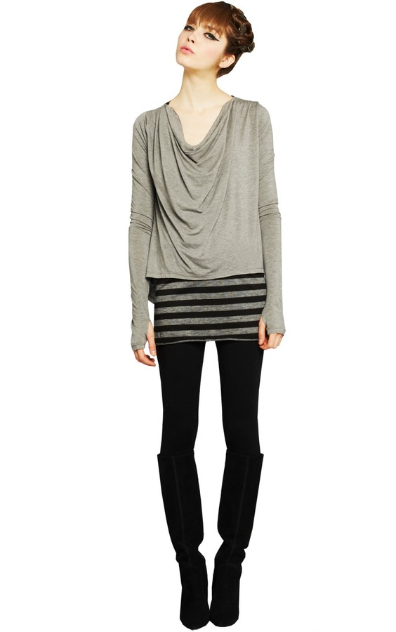 Alice + Olivia Long Cowl With Curved Hem