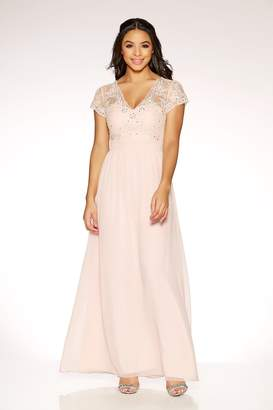 Quiz Nude Chiffon Cap Sleeve Embellished Maxi Dress