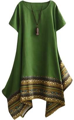 Minibee Women's Ethnic Cotton Linen Short Sleeves Irregular Tunic Dress (M, )
