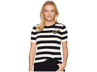 Lauren Ralph Lauren Petite Striped Button-Trim Sweater