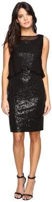 Ellen Tracy Sequin Dress w/ Removable Chiffon Layer Women's Dress