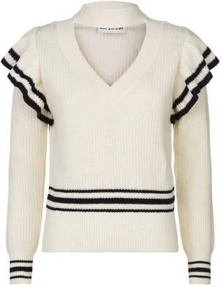 Self-Portrait Striped Frill V-Neck Sweater