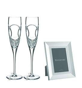 Waterford Crystal Celebration Flutes Wedding Flute & Frame Set
