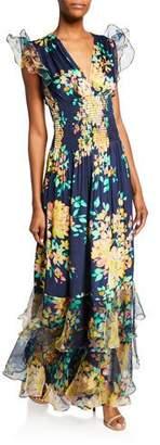 Shoshanna Floria Floral-Print V-Neck Sleeveless Smocked Ruffle Gown