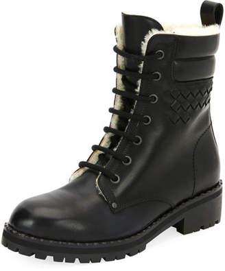Bottega Veneta Shearling Fur-Lined Combat Boot