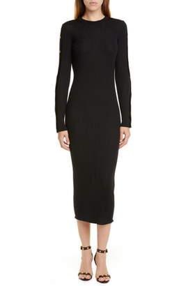 Versace Long Sleeve Wool Rib Midi Sweater Dress