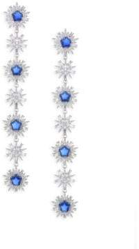 Adriana Orsini Crystal& Rhodium-Plated Linear Earrings - Rhodium