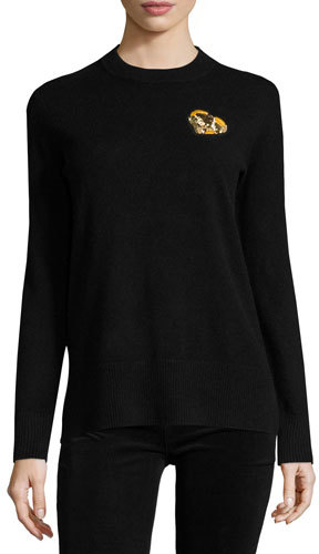 Tory Burch Tory Burch Cashmere Pullover w/ Gold Heart Patch, Black