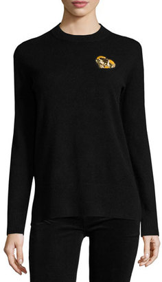 Tory Burch Cashmere Pullover w/ Gold Heart Patch, Black $350 thestylecure.com