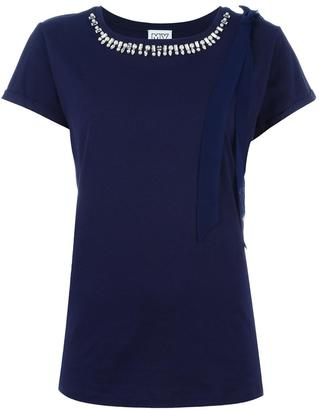 Twin-Set embellished neckline T-shirt $76.56 thestylecure.com