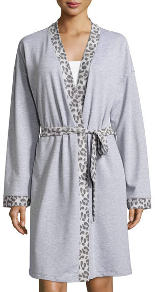 CosabellaCosabella Leopard-Print Long-Sleeve Knit Robe, Heather Gray