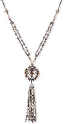 "lonna & lilly Two-Tone Crystal, Stone & Bead Tassel Pendant Necklace, 30"" + 3"" extender"