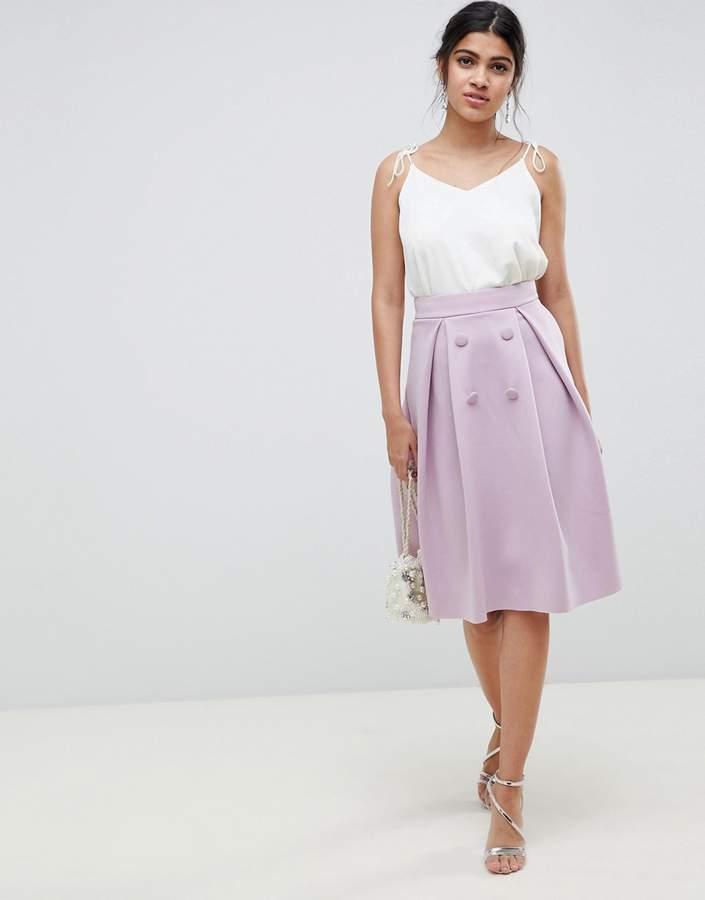ASOS DESIGN double breasted midi prom skirt