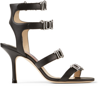 Jimmy Choo ALEXANDRA 85 Black Nappa Leather Strappy Sandals with 100% Crystal Detailing