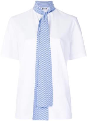MSGM striped tie neck tee