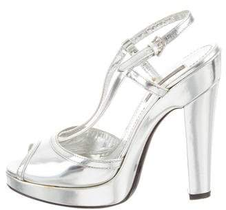 Burberry Metallic Platform Sandals
