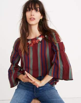 Madewell Embroidered Pleat-Sleeve Top in Rosalinda Stripe