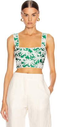 Alexis Kaela Bustier Top in Green Palm Jacquard | FWRD