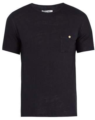 Hecho - Crew Neck Linen T Shirt - Mens - Navy