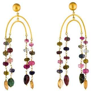 Yossi Harari 24K Multicolor Tourmaline, Iolite & Garnet Chandelier Earrings