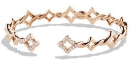 David Yurman Venetian Quatrefoil Cuff Bracelet with Diamonds in Rose Gold $4,400 thestylecure.com