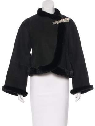 Blumarine Mink-Trimmed Shearling Jacket