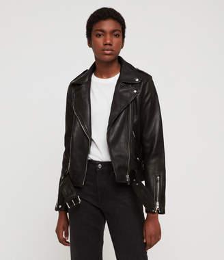 AllSaints Estae Hearts Leather Biker Jacket